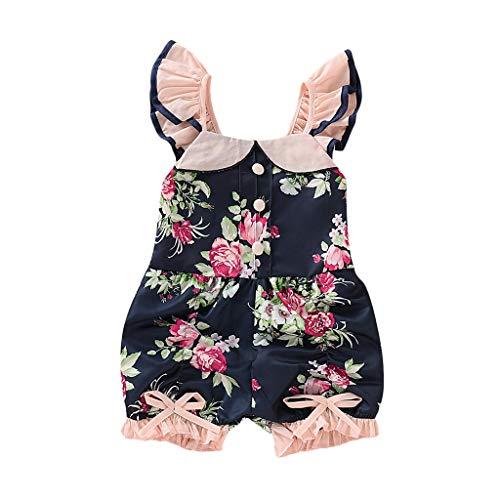 Pwtchenty Jumpsuit Baby MäDchen Bodysuit Spitze Rüschen Blume Druckte Spielanzug Overall Kleidung Onesies Einteiler Body Strampler