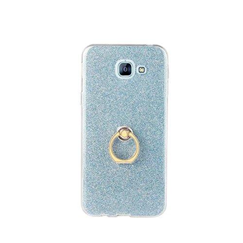 Luxus Bling Sparkle Style Case, Soft TPU [Silikon] Flexible Glitter Rückentasche mit Fingerring Stand [Anti Scratch] [Shockproof] für Samsung Galaxy A810 (A8 2016) ( Color : White ) Blue