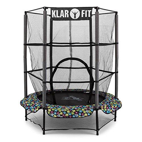 Klarfit Rocketkid 5 cama elástica infantil (140 cm de diámetro, red de seguridad, apta para exterior o interior, peso máximo 50 kg, cuerdas elásticas ocultas, varillas acolchadas, gran estabilidad) - negro/flores