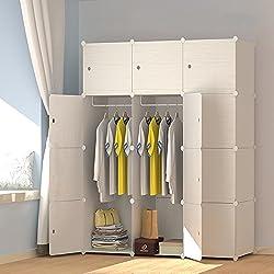 PREMAG Armoire Penderie Portable Cubes de Stockage avec Motif en Bois modulaire en Plastique en métal avec cintres pour vêtements, Accessoires, Jouets (12-Cube)
