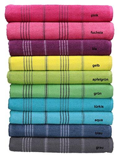 Betz Badetuch XXL Strandtuch LINES 100% Baumwolle verschiedene Farben Größe 90 x 180 cm Farbe lila (Badetücher)
