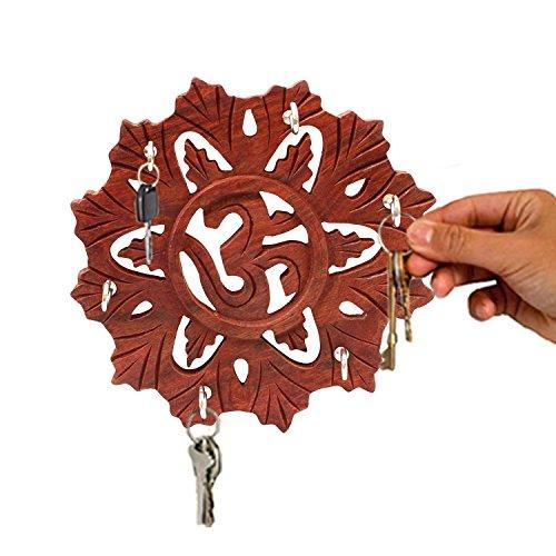 IndiaBigShop Handgefertigte Holz Om Design Runde Schlüsselhalter Wand-Dekor hängende Wand montiert Key Organizer für die Wand 6,5 Zoll