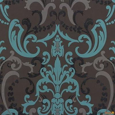 Tapete Rasch Bestseller Tapete Barock modern 714708 anthrazit türkis von Rasch Tapeten bei TapetenShop