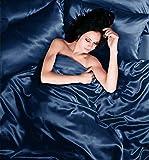 Bettwäscheset, Bettbezug, Spannbetttuchund 2Kissenbezüge, Satin, für Einzelbetten, Marineblau