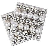 Robelli 50 Stück Packung Miniatur glänzende & Matt Weihnachtsbaum Kugeln in Verschiedenen Farben - Silbern