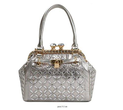 GSHGA Handtaschen Für Frauen Schulter Crossbody Strass Platinum Paket Verschlossene Handtasche,Silver