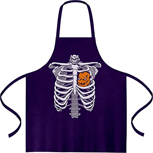 Skelett Brustkorb Mit Kürbis Halloween Kochschürze, Grillschürze, Latzschürze One Size (Kostüm Skelett Brustkorb)
