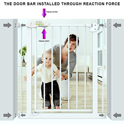 Baybee Auto Close Safety Baby Gate-Extra Tall Durable Dog Gate with Extension Door-Easy Walk-Thru Child Gate for House, Stairs, Doorways Protective Lock(75cmx95cm)-- Safety Gate for Kids infants and Babies