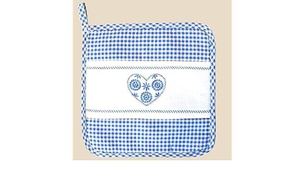 Topfhandschuh blau weiß kariert Stickerei Herz -18//28cm
