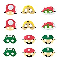 12pcs Super Mario Blindfold, Mario themed party supplies, children's birthday party dress up props.