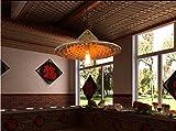 Jingzou magasins Creative rétro personnalité pot restaurants restaurant bar lumière chapeau rotin bambou lustre...