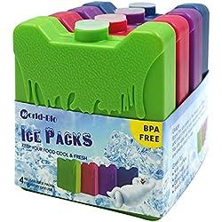 WORLD-BIO 4 x Packs de Glace Réfrigérants Glacière - Petits mais durables - Froid congélateur Sac glacière boîtes déjeuner - 4 Couleurs