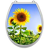 Aufkleber für Toilettensitz Klodeckel Aufkleber WC Sitz Aufkleber - Motiv Sonnenblume