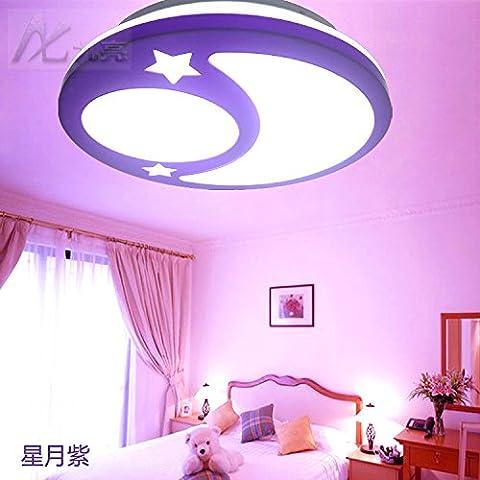 GQLB Lumière LED eye rêve plafond plafond chambre à coucher lampe protection simple et moderne lumière lune étoile ronde enfants chambre balcon feux d'éclairage (350mm * 90mm), rose