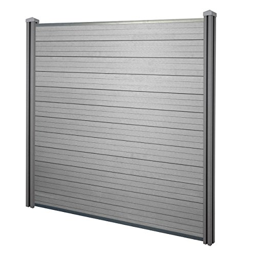 Mendler WPC-Sichtschutz Sarthe, Windschutz Zaun, WPC-Pfosten ~ Basiselement, 1,95m grau