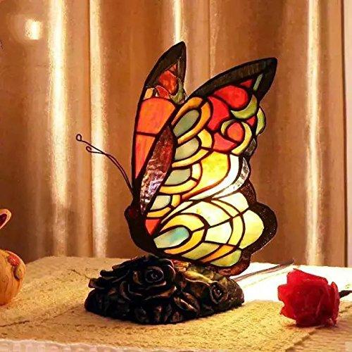TOYM UK- Illuminazione in camera da letto soggiorno in stile europeo festa di nozze farfalla creativo lampada decorativa di Tiffany lampada da comodino caldo