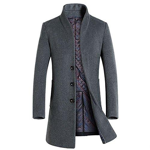 Slim Fit Herren stilvoller WollMantel Winter Business (X-Small, grau)