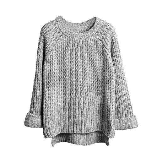Eleery einfabrig Damen Pullover Winter warm Lose Casual Outwear Mantel Wolljacke Strickpullover