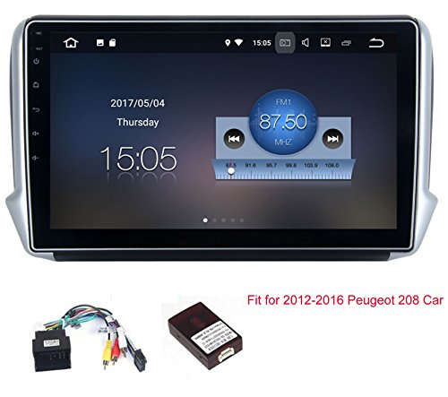 RoverOne Android 7.1 System Auto GPS Navigation für Peugeot 208 2008 mit Autoradio Stereo Radio Bluetooth Spiegel Link Quad Core Multimedia System (Ups Link Kabel)