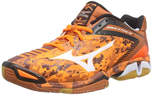 Mizuno Wave Stealth 3, Herren Handballschuhe, Orange (OrangeCamo/White/Black 58), 46.5 EU (11.5 Herren UK)