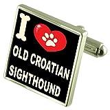 Select Gifts Ich liebe meinen Hund 925 Sterling Silber Manschettenknöpfe alte kroatische Windhund