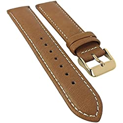 Organic White Calfskin Replacement Watch Strap 18 mm - 22 mm Calf Leather with Contrasting Stitching 30113, Width: 22 mm, Clasp: Golden Light Brown