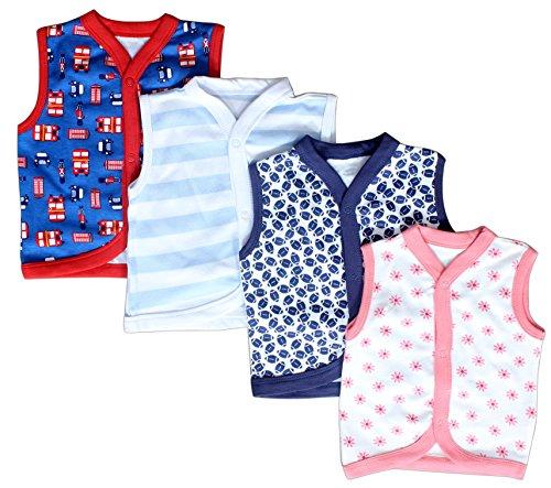 Baby Station Sleeveless Vest-Jhabla-Set Of 4 (0-3 months)