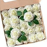 ACDE Fleurs Artificielles, Roses Artificielle 25PCS Mousse Rose Faux Regard Réel avec Feuille et Tige Ajustable pour DIY Mariage Bouquets Mariée Fête Accueil Décorations (Ivoire)