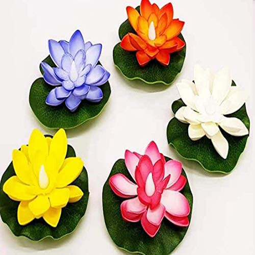 Jamboree!!! Pack of 6, Mixed Color Lotus-Warm White LED, Water Floating Lily Flower, Flower Night Lamp for Pool Garden Fish Tank Or Party Decoration