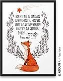 FUCHS Hör nie auf zu träumen ABOUKI Kunstdruck - ungerahmt - Geschenk-Idee Taufe Geburt Geburtstag Weihnachten für Kinder Junge Mädchen Baby DIN A4