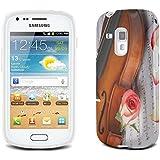 Musique 002, Violon et Roses, Clair Etui Housse Coque de Protection en Cuir avec Stand, Fermeture Magnétique et Dessin Coloré pour Samsung Galaxy S3 Mini