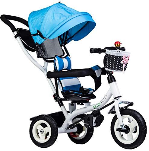 Eco Toys Dreirad Kinderdreirad mit drehbarem Sitz, Schubstange, Gummireifen, Sonnendach, Elternlenkung, mitwachsend