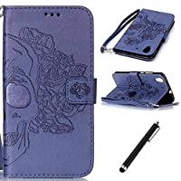 Huawei Y6 II Case,Leather Case for Huawei Y6 2/Huawei Y6 II,Flip Case for Huawei Y6 II,Beddouuk Luxury Creative Pressed Pattern Flip PU Leather Wallet with Credit Card Slots Stand Function Magnetic Closure Wrist Strap for Huawei Y6 II,Skull Dark Blue