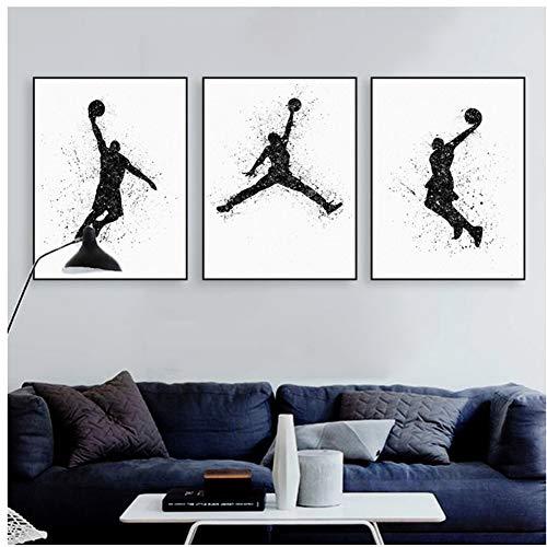 chtshjdtb Aquarell Basketball Malerei Poster abstrakte Wand Bild Wohnzimmer Dekoration Leinwand Malerei Druck auf Leinwand -50x70cmX3 Stück No Frame