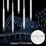 Luci di pioggia di meteora doccia, Vikdio 50cm 10 Tubi a spirale 540 LEDs impermeabile Luci di stringa per Natale Halloween Albero del giardino Home decor, Supporto 2 Set di gancio (Bianca)