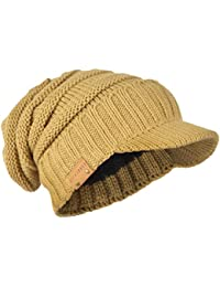 b08a65b47 HISSHE Men s Thick Knit Newsboy Cap Visor Beanie Hat Fleece Lined  Multicolor B319