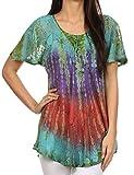 Sakkas 14783 - Dina Relaxed Fit Sequin Tie Dye Stickerei Cap Ärmel Bluse/Top - Turquoise - OS