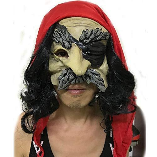 y Maske Horror Perücke Pirat Image Latex Maske, Gules ()
