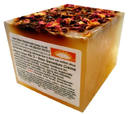 Handmade Natural Rose Geranium Soap Loaf - Range No.2 - Acne, Eczema, Psoriasis, Itchy Skin, PMT and Hormone Imbalance Relief - 400g Money Saver Loaf by New Dawn (Soap-hormone)
