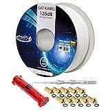 HB-DIGITAL Galaxy 100m 135dB Koaxial SAT Kabel 5-Fach geschirmt weiß inkl. Abisolierer und 10 vergoldete F-Stecker...