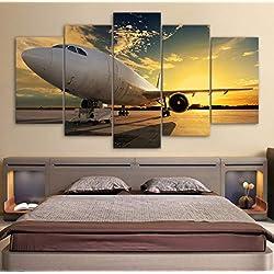 JHDGG Impression sur Toile Avion de Ligne 200×100 cm Grand Format 5 Pieces Image sur Toile Images Photo Tableau Motif Moderne Décoration(sans Cadre)