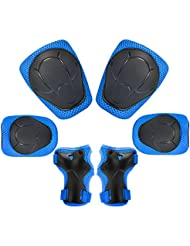 Kuyou Kids Knee Pads Set,6 in 1 Kit Protective Gear Knee Elbow Pads with Adjustable Wrist Guards Toddler Children Protection Safety for Rollerblading BMX Bike Bicycle