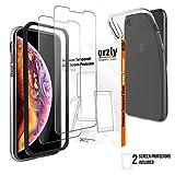 ORZLY - Schermi Protettivi iPhone XR (Modello 6.1 Pollici) 2X Schermi Protettivi Vetro Temperato e 1x Custodia FlexiCase Trasparente per iPhone XR