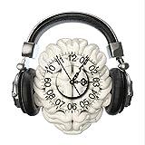 DXNSPF Orologio Adesivo Parete 3D, Orologio Sfera Creativo, Adatto Camera Letto Soggiorno,20.7*14.9 Pollici , Brain/headphones