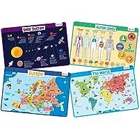 merka - Educational Kids Placemats Bundle - Non Slip Back, Reusable and Washable - Size 45x30cms