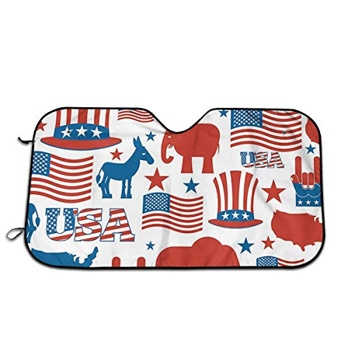 FATHYU Circus Sombrero de Elefante de la Bandera de Estados Unidos, Parasol con Aislamiento de Calor, parasoles Gruesos, Protector UV de Aluminio para Exteriores