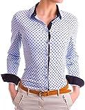 Damen Figurbetonte Langarm Bluse Business Hemd Tailliert mit Punkten (533), Farbe:Blau, Größe:X-Large