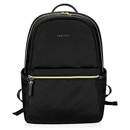 KROSER Laptop Rucksack 15,6 Zoll(39,6cm) Schulrucksack Reise Daypack Tagesrucksack Wasserdicht Nylon Laptop Gepäck mit USB-Ladeanschluss für College/Reisen/Frauen/Männer-Schwarz MEHRWEG