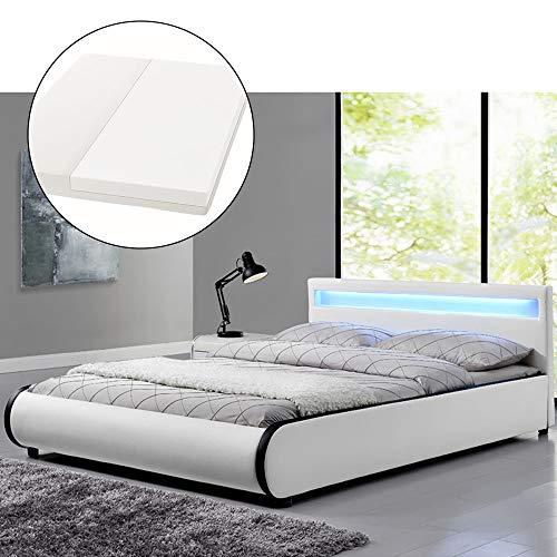 ArtLife Polsterbett Sevilla - 140 x 200 cm - weiß mit Lattenrost & Kaltschaummatratze