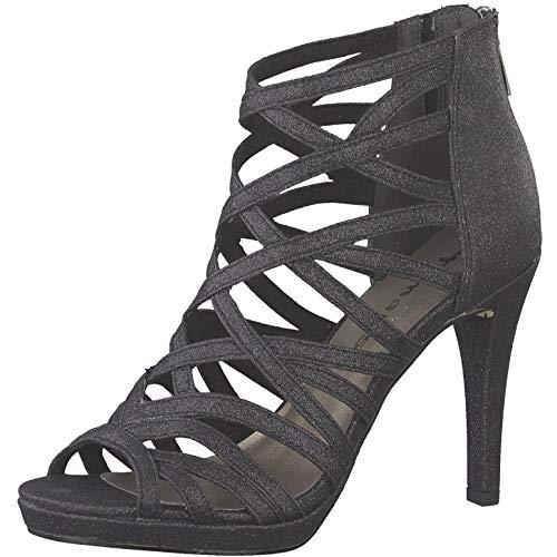 Tamaris 1-1-28014-22 Damen Sandaletten,Sandaletten,Sommerschuhe,offene Absatzschuhe,hoher Absatz,feminin,Black Glam,41 EU